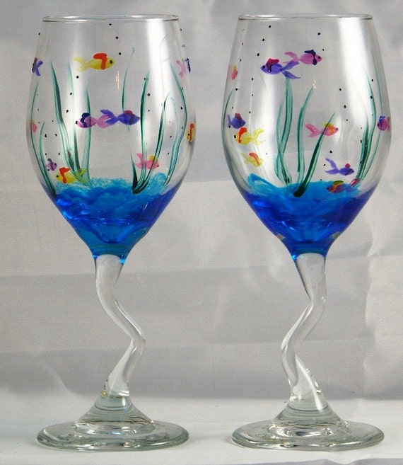 Items Similar To Hand Painted Fish Wine Glasses On Etsy