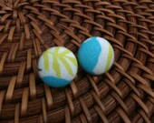 Light Blue, Lime Green and White Fabric Covered Button Earrings