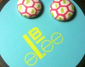 Pink, green & white fabric-covered button earrings