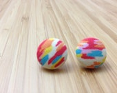 Abstract fabric-covered button earrings