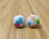 Little hearts fabric-covered button earrings