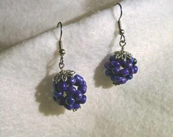 Blue Bead Ball Earrings