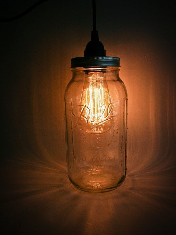 Eye-Catching Mason Jar Pendant Light (Large) with Black Cord