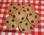SALE - Chocolate Chip Felt Cookies - 6/Set - Pretend Play Food - Perfect for Party Favor, Halloween Treat, Christmas Stocking