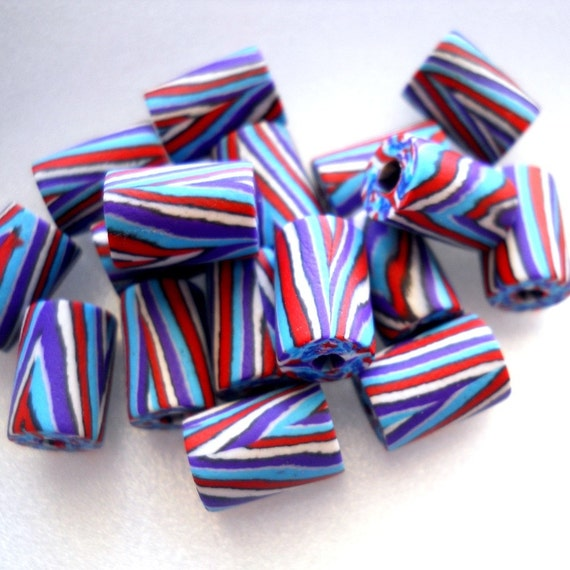 Patriotic Beads Red White and Blue Beads Striped Beads Recycled Rubber Beads, Turquoise and Red, Tube Beads Rubberized Beads, Set of 12