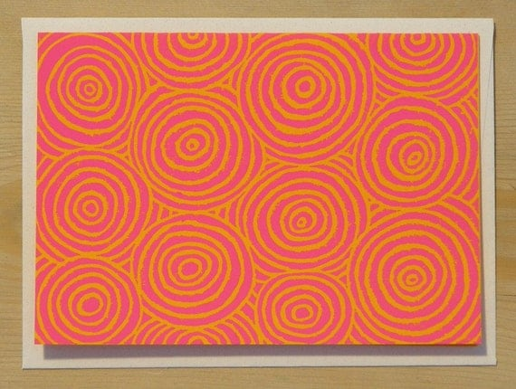 Circles Card - 4 pack - pink ink on orange paper - handmade lino-cut print