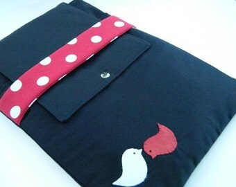 """15%0ff-11"""",13"""",14"""",15"""",17""""Laptop case-Macbook,MS SurfacePro,LenovoYoga,Sumsung chromebook,Acer, Hp, ASUS-padded-POCKET-Red Polka dots"""