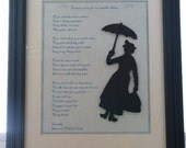 Mary Poppins Inspired Nanny Advertisement Silhouette Picture (Framed)