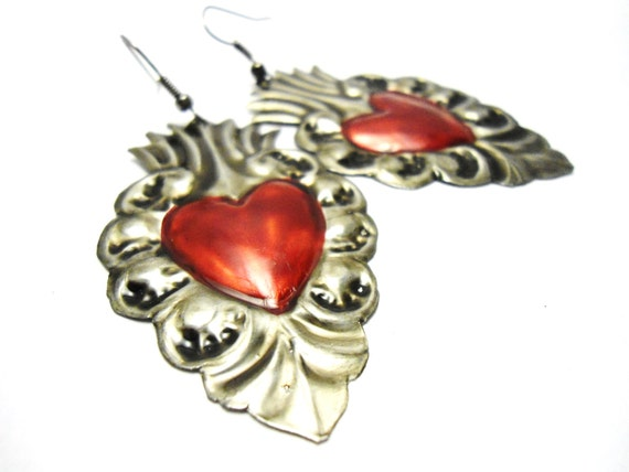 vintage heart tin earrings