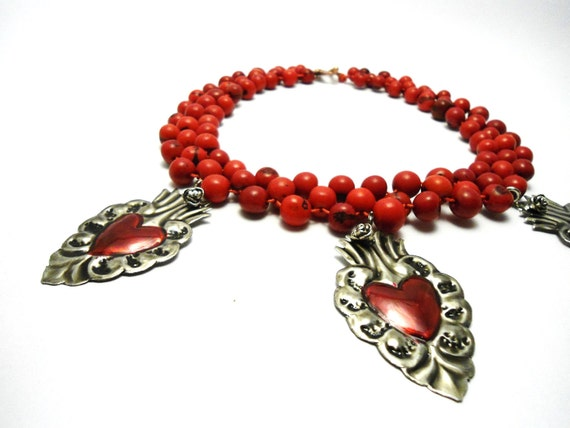 Frida Organic Seeds Necklace with Mexican Tin Hearts
