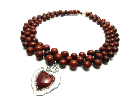 RESERVED FOR KMAJER Burgundy Acai Beadwoven Necklace with Tin Sacred Heart