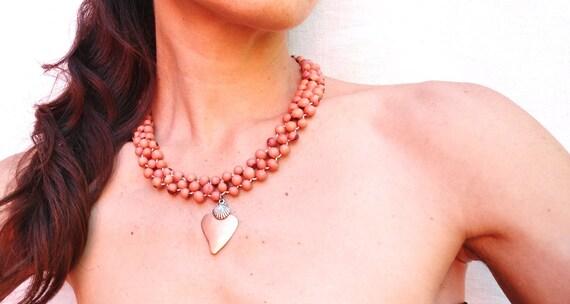 Peach Acai Beadwoven Necklace with Tin Heart