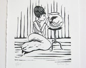 Original linocut print- a lady and her pet squid