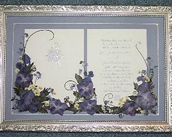 INVITATION FLOWERS Custom Framed Invitation Keepsake Announcement