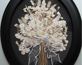 White Wedding Bouquet Gift Wall Decor Black White Art Pressed White Flowers Elegant