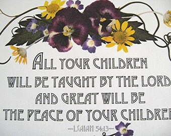 CHILDREN Verse Christian Scripture Art Reproduction Purple Pansies New Baby Gift