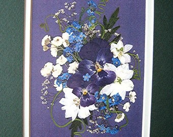 Purple Pansy Art Lilac White Bouquet Reproduction Double Green White 8x10