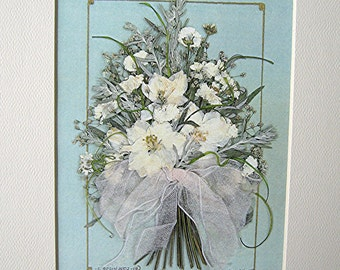 White Flowers Wedding Gift All White Bouquet Flower Art Pressed Flowers Reproduction