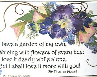 Pansy Garden Verse Purple Pink Roses Reproduction 5x7 Burgundy Mat