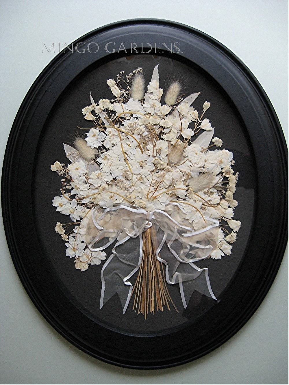 Wedding Gift Wall Art : White Wedding Bouquet Gift Wall Decor Black White Art Pressed