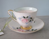 RESERVED FOR AllThingsPretty Strawberry Scented Vintage Teacup Soy Candle