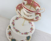 Lovely Floral Pink Vintage 3 Tier Cake Stand With Teacup