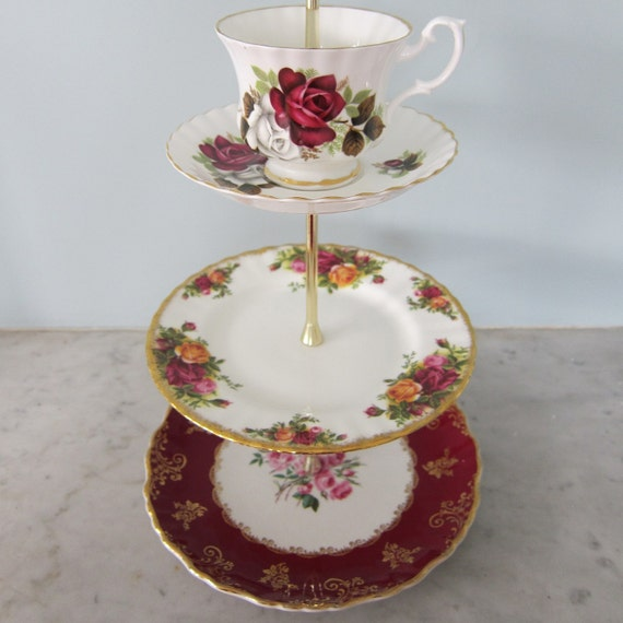 Pretty rose handmade vintage 3 tier cake stand with by for Pretty cake stands