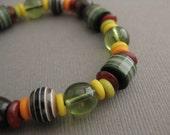 Boys Bracelet with Green, Orange and Yellow Beads, Medium, BB 114