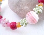 Pink orange and green bracelet with small flowers, Medium Girls Bracelet, GBM 102
