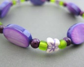 Girls Bracelet Purple and Green with Butterflies, Kids Jewelry,  Large, GB 150