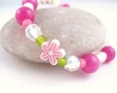 Girls Bracelet, Pink Flowers with Green, Large Bracelet, GBL 101