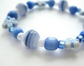 Girls Bracelet, Beaded Blue and White with Blue flowers, Medium, GBM 119