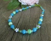 Turquoise Blue and Green Stretch Necklace with Flowers for Girls, Medium Girls Necklace, GNM 120