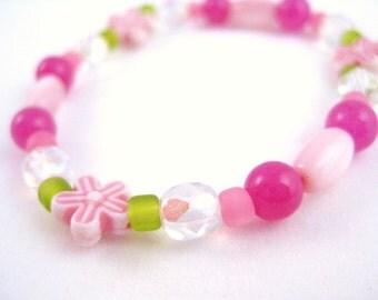 Girls Bracelet Pink and Green, Medium, GBM 101