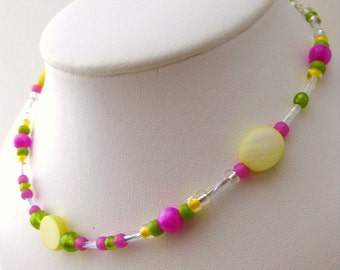 Small Pink Green and Yellow Girls Necklace with Sterling Silver Clasp, GN 107