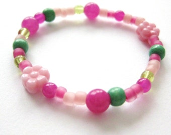 Girls Bracelet Pink Flowers and Green Beads, Beaded Stretch Bracelet, Small, GBS 115