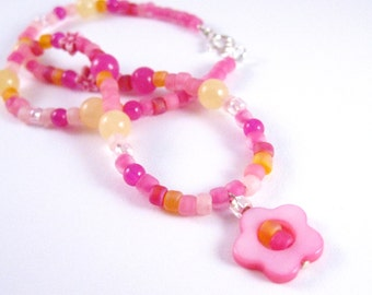 Girls Necklace, Pink and Yellow with Pink Flowers and Sterling Silver clasp, GNS 142