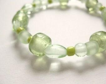 Girls Bracelet, Green Beaded Bracelet, Large Bracelet, GBL 132