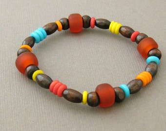 Colorful Boys Stretch Bracelet with Wooden Beads, Large Boys Bracelet, BB 106