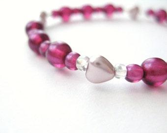 Girls Bracelet, Pink, Dark Pink Beads with Pealry Hearts, Large Bracelet, GBL 163