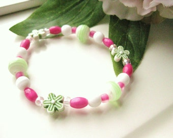 Girls Stretch Bracelet Pink and Green with flowers, Medium, GBM 121
