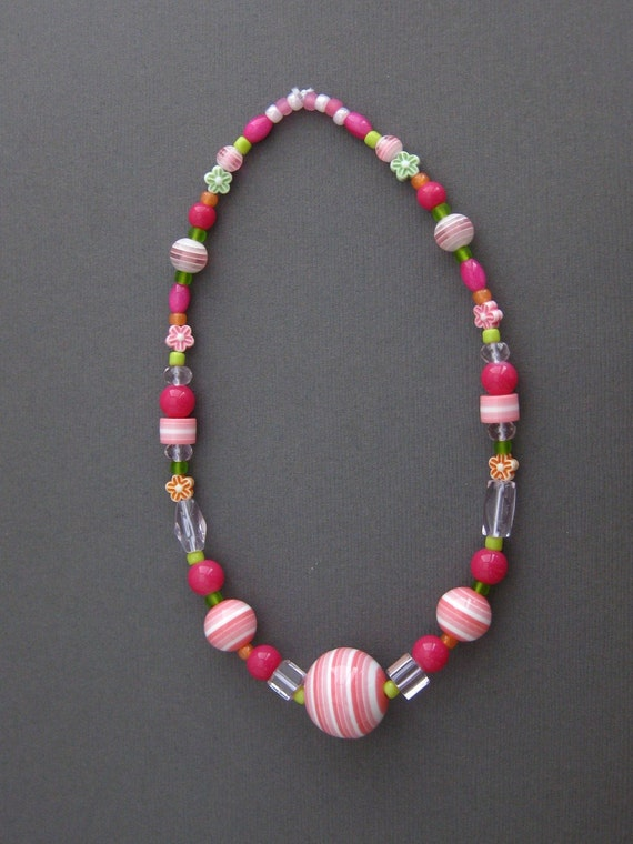 Pink and Green Chunky Necklace, Small Girls Necklace, GN 113