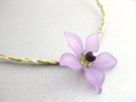 Woven necklace with large Purple flower, Medium Girls Necklace, GN 127