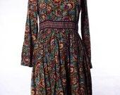 Vintage 70's high collar, colorful bohemian, folk floral print dress