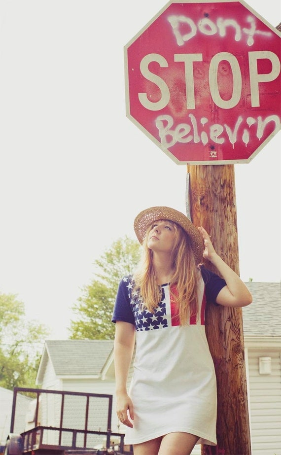 Vintage Late 80's Early 90's American flag shirt dress