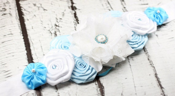 Baby Boy Maternity sash handmade flower maternity sash for photoshoots and photo prop baby blue for your baby boy