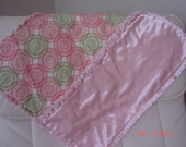 Baby Security Rag Quilt Snuggle Blanket Tye-dye Pink and Green Flannel and Pink Polyester Satin