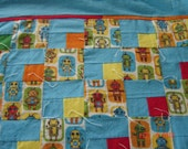 """Robot Crib Size """"Puss in the Corner"""" Tied Quilt"""