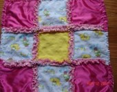 Baby Girl Security Blanket Rag Quilt  with Ducks and Frogs