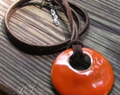 Pumpkin Orange Color Gorgeous Enameled Pendant - Ready to ship